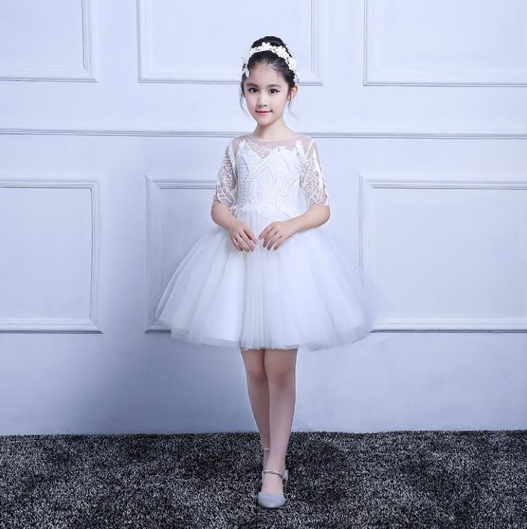 White Flower Girl Dress For Weddings Appliques Tulle Evening Party Dresses Half Sleeve Baby Christmas Dresses Size 2-16Y