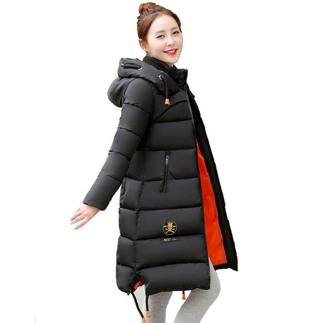 2016 Новая Мода Зимняя Куртка женская Молнии Утка Вниз Зимняя Куртка Длинная Толстая Капюшоном Женщины Вниз Parka