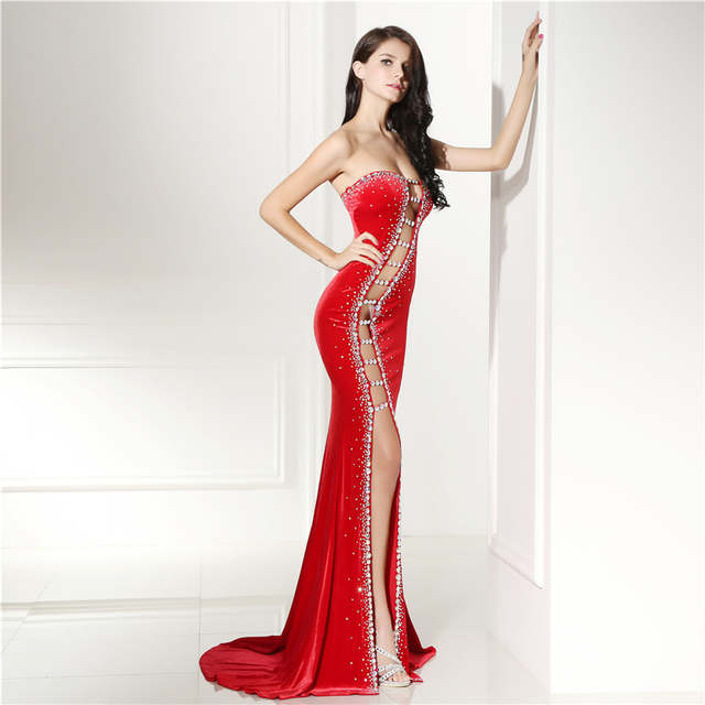 Long Evening Dresses 2018 Mermaid Sexy Cot-out Beaded Sleeveless with Slit  Red Prom Dresses a39be1f375a5