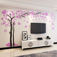 2018 New Romantic Tree with Heart Leaves Acrylic Stickers DIY Wall Sticker TV Background Living Room Decor Large Sticker