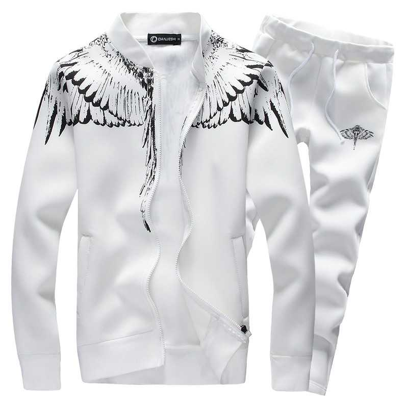 Autumn Men Hoodies Set 2020 Brand Male Casual Solid Pattern Print Sportswear Zipper Hooded Jacket+Sweatpants Sets Mens Tracksuit