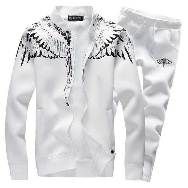 Jesień mężczyźni zestaw bluz z kapturem 2020 marka mężczyzna dorywczo jednolity wzór druku sportowa kurtka z kapturem na zamek błyskawiczny + zestawy dresowe męskie dres