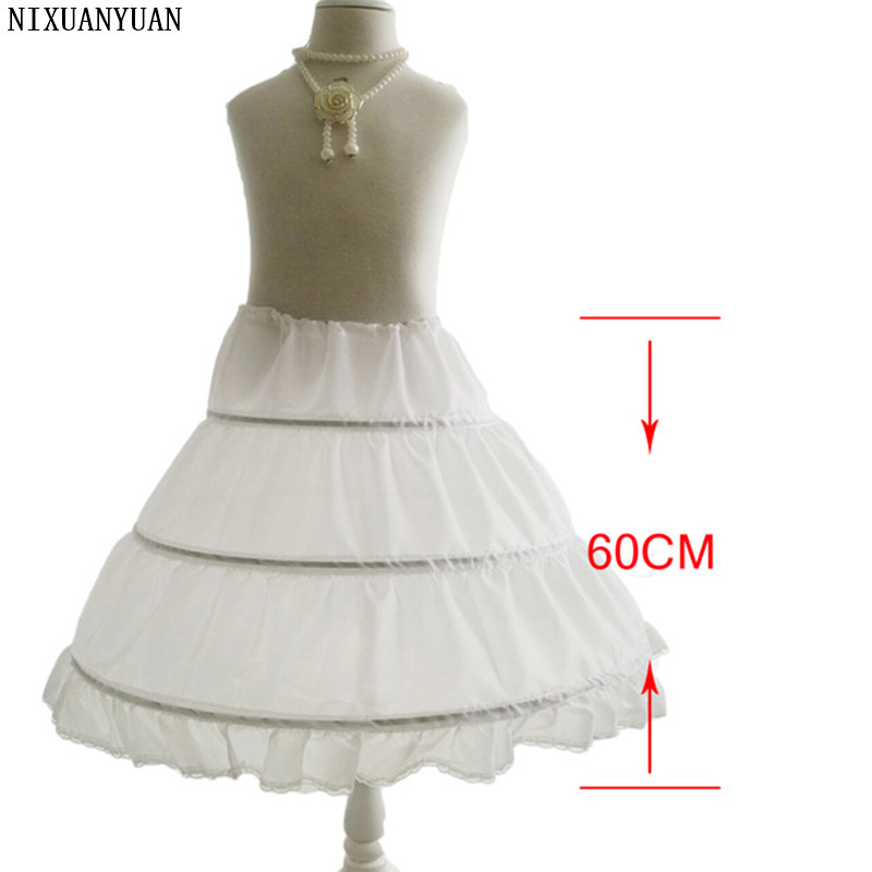NIXUANYUAN Girls Petticoats For Flower Girl Dresses 3 Hoops Length underskirt crinoline Wedding accessories for Children