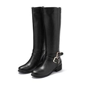 Image 2 - MORAZORA 2020 新ファッション靴女性ラウンドトウジッパー秋冬ブーツの正方形ヒール固体色ニーハイブーツの女性