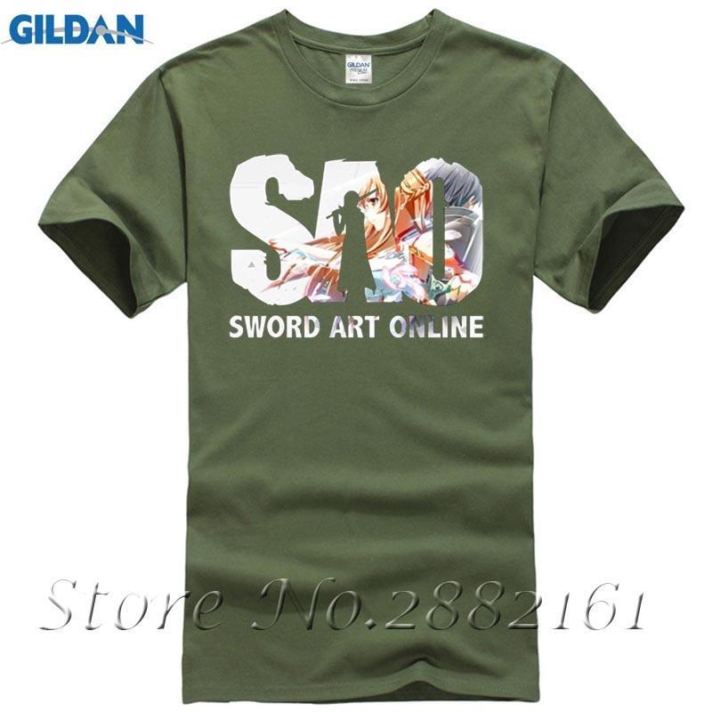 2017 Anime Men T Shirt Print Sword Art Online Summer Cosplay Tee Shirt Homme XXL O-neck SAO Fans Sleeve T-shirt Homme