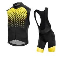 MAVIC vest sets Men cycling jersey short sleeve/sleeveless clothing bike classic wear jersey set bib shorts Gel Pad road kit