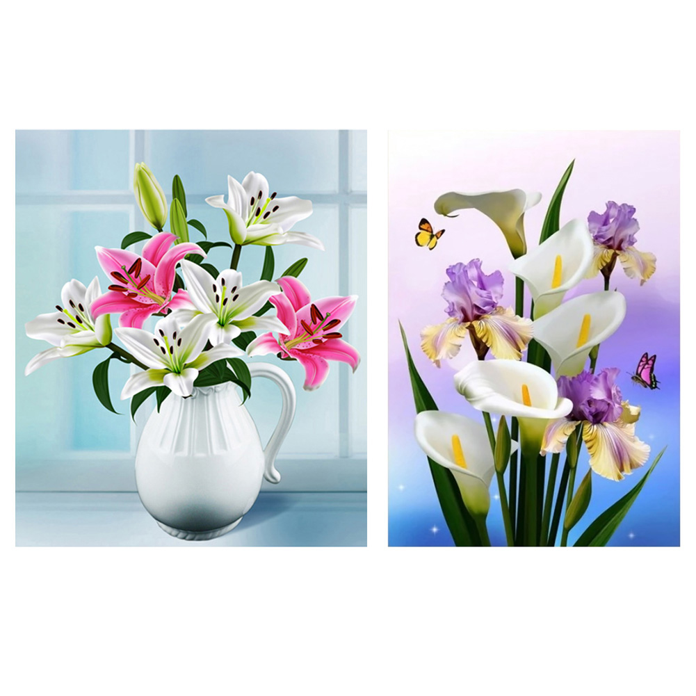 Diamond Embroidery Lily White Flower Pot 5d Diamond Painting Lily