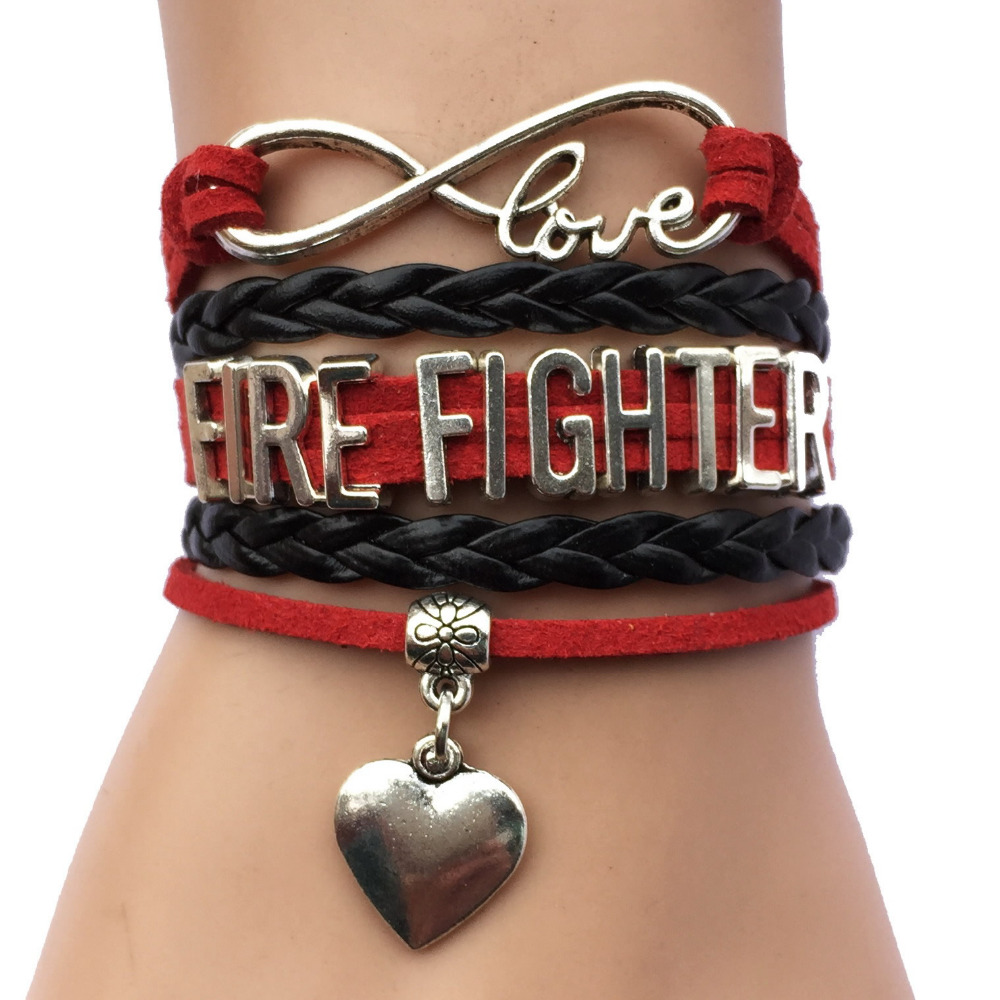 Infinity Love Fire Fighter Bracelet Heart Charm Firefighter Daughter Grandma Sister Wife Mom Career Job Friendship Gift In Bracelets From Jewelry