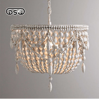 DSQ,French Wooden Pendant Chandelier White American Country Wooden Chandelier Living Room Retro