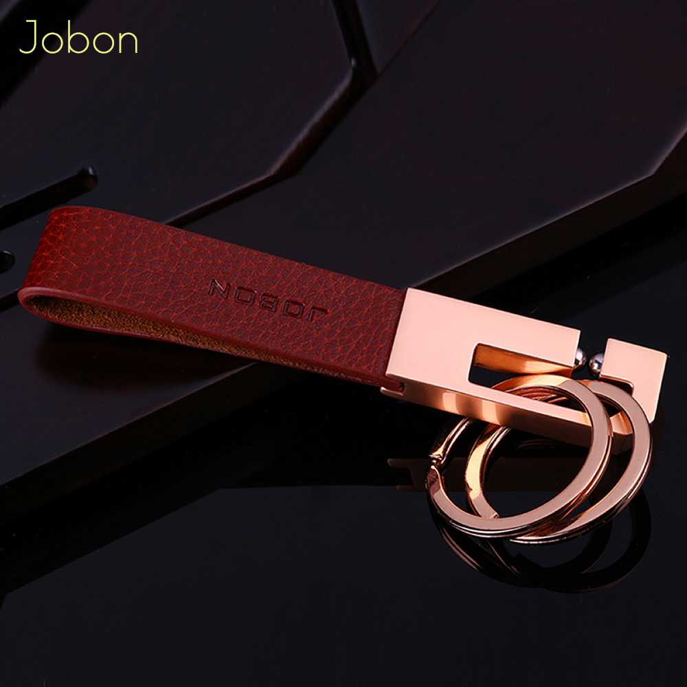 Brand Jobon KeyChain Bag Pendant 2018 High quality Men Keychains Fashion Leather Car Key Holder Metal Fathers day Gift Jewelry