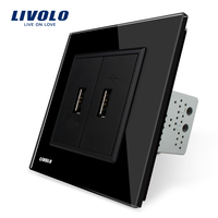 Livolo Black Crystal Glass Panel One Gang USB Plug Socket Wall Outlet VL C792U 12