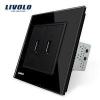 Livolo Black Crystal Glass Panel One Gang USB Plug Socket Wall Outlet VL C792U 12