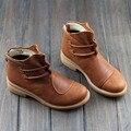 Botas Marrom Preto das mulheres Outono Inverno Feminino Botas Mulher Sapatos de Couro Genuíno Deslizamento em Ankle Boots Estilo Chique (3269)