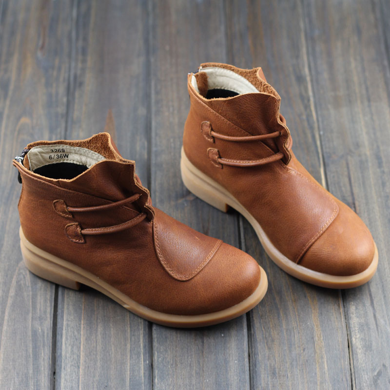 Women's Boots Brown Black Autumn Winter Female Boots Woman Shoes Genuine Leather Slip on Ankle Boots Chic Style (3269)