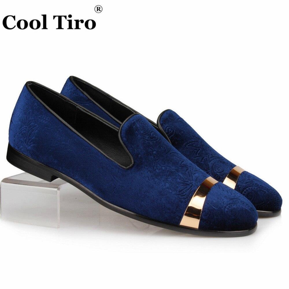 Cool Tiro Embossed Velvet Men Slippers Loafers Men s Dress Shoes Gold Metal Smoking Slip on