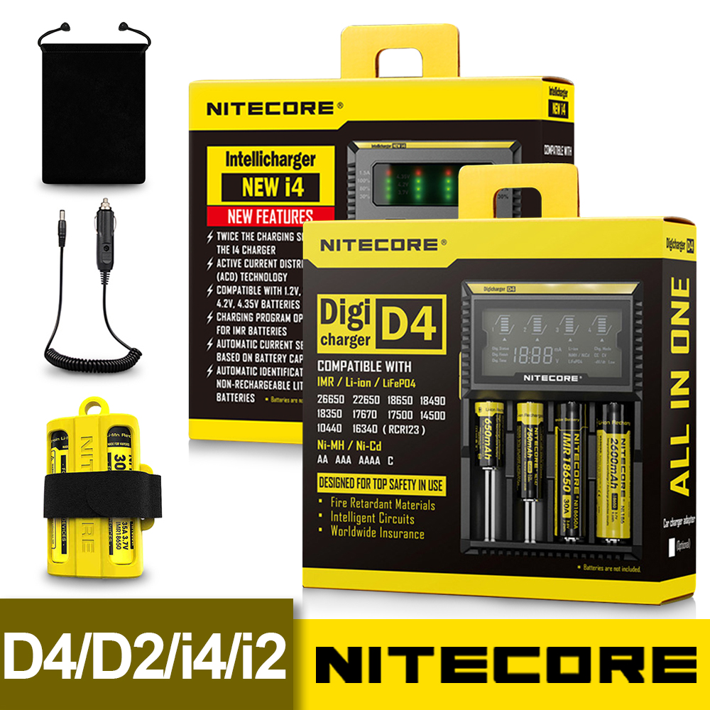 Nitecore D4 D2 New I4 I2 Digicharger LCD Intelligent Circuitry Global Insurance li-ion 18650 <font><b>14500</b></font> 16340 26650 Battery <font><b>Charger</b></font> image
