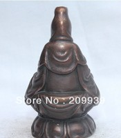 00882 China Chinese Pure Bronze Seat Kwan yin Guan Yin Boddhisattva Goddess Statue (A0314)