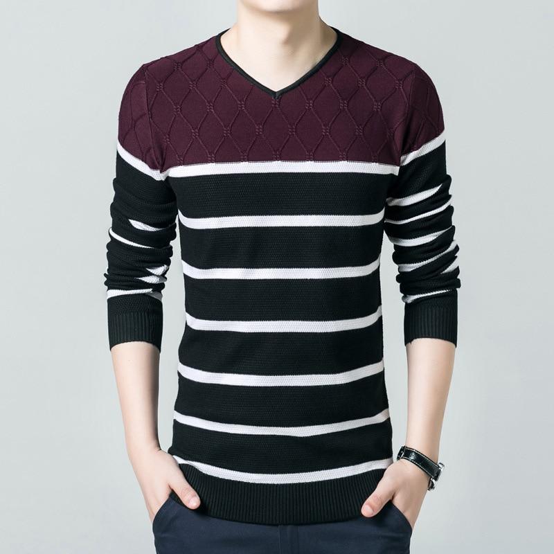 font b Men b font Striped Knitted font b Sweater b font Korean Style Plus