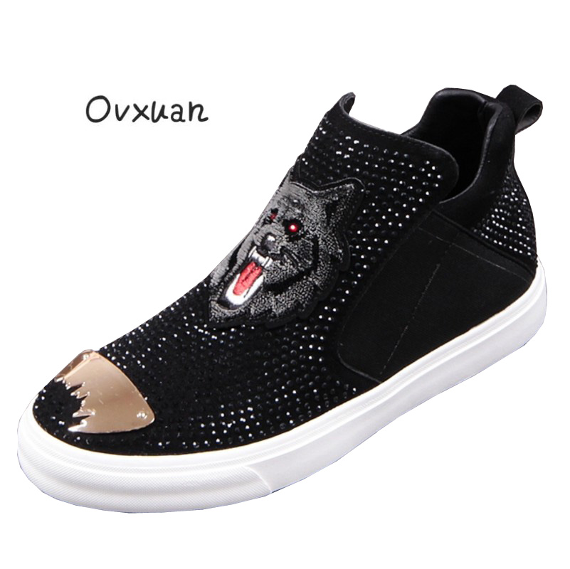 Ovxuan Handmade Loafers Genuine leather Embroideried Wolf Head Metal Toe Moccasins  Man Flats Prom Banquet Party db93c6644e7e
