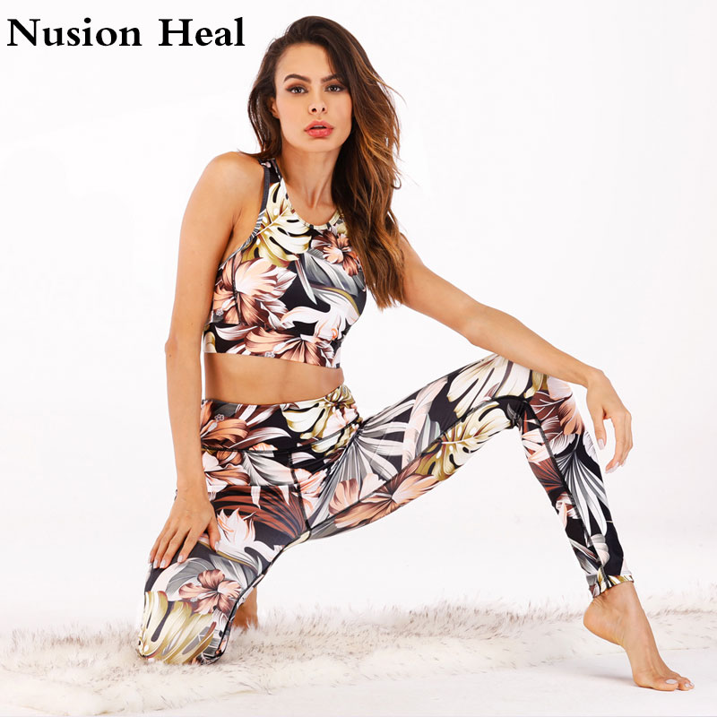 2018 Women High Waist Yoga Pants + Yoga Bra Sports Bra Tops Dance Tights Compression Running Leggings Skinny Fitness Sports Pant