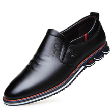 Working Dress Shoes Mens Genuine Leather Oxfords Business Wedding Black Shoes Slip On Pointed Toe Leather Flats Shoes DA018 new pjcmg spring autumn cool serpentine black wine red mens flats dress genuine leather oxfords business mens wedding shoes