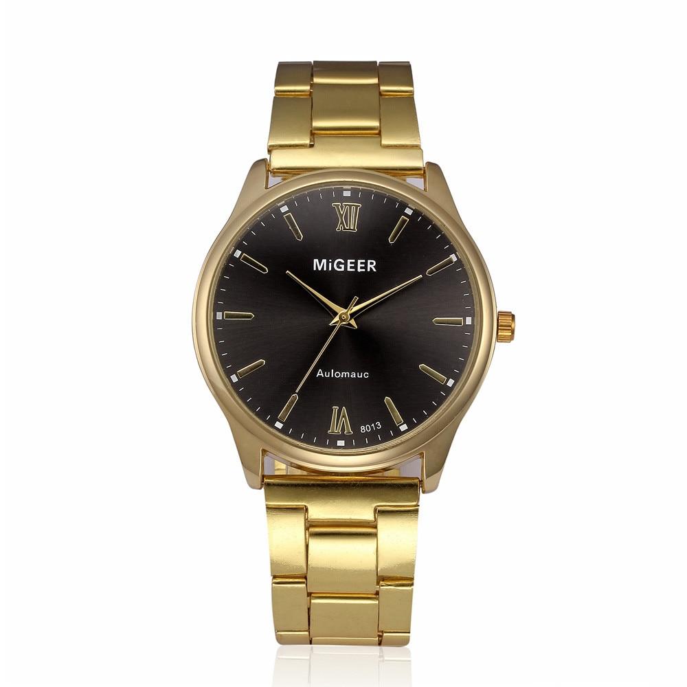 New Fashion Luxury Men's Gold Watches Top Brand Stainless Steel Strap Bracelet Watches Quartz Exquisite WristWatches Masculino#S