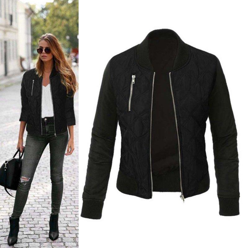 94a363ac603 Fashion Women Jacket 2018 Casual Retro Zipper Up Bomber Coat jaqueta  feminina Autumn Outwear Women Slim Winter Jacket Hot Sale -in Basic Jackets  from ...