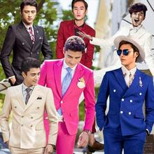 Two-piece set blazer men formal dress double breasted suit men costume homme terno slim dance marriage wedding suits for men's