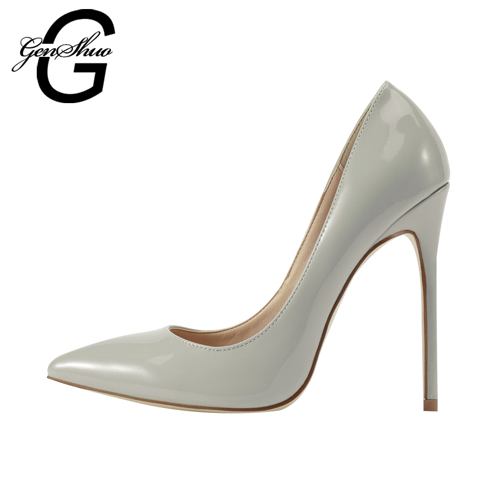 GENSHUO Light Grey Color Bottom Sole High Heels Pumps Women Shoes Pointed Toe PU Patent Leather Ladies Sexy Stiletto 8 10 12CM facndinll new black patent genuine leather pointed toe rhinestone sexy high heels lace up women pumps ladies party casual shoes