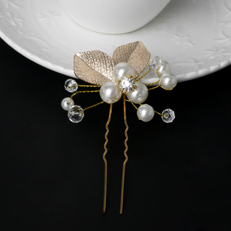 Women/'s Leaf Rhinestone Faux Pearls Hair Clip Hairpin Bridal Bobby Pin Jewelry