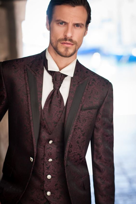 Burgundy ~ Maroon ~ Wine Color DRESS three piece suit 3 Button 3 Pieces with Nice Cut Smooth Soft Fabric Mens Suits $ Color – Burgundy - Maroon – Wine. Size – 34 inch long pinstriped zoot jacket with adjustable 28 inch pant's waist band.