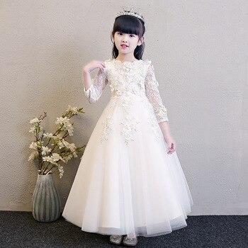 334fbadf9 Gran Arco floreció Flor de noche de encaje de la boda vestidos de primera  comunión vestido de princesa traje de bebé niños tutu ropa