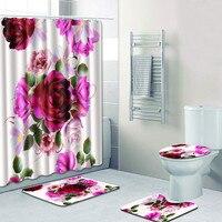 4PCS Sea Style Non Slip Toilet Polyester Cover Mat Set Bathroom Shower Curtain