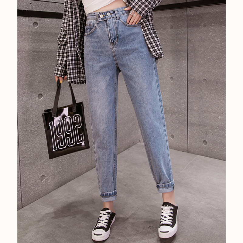 JUJULAND Autumn Clothes Ladies High Waist Female Boyfriend Jeans For Women Trousers Pants Denim Ripped Jean Woman Plus Size