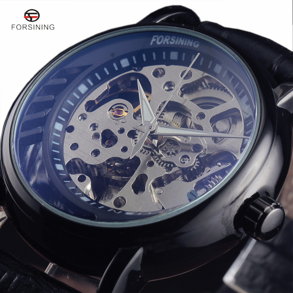 2018 FORSINING Luxury Men Automatic Mechanical Watches Classic Clock Self-Winding Black Leather Strap Skeleton Wristwatch цена и фото