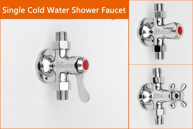 Single Cold Water Chrome Brass Exposed Shower Faucet Wall Mounted