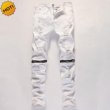 цена на HOT 2020 Fashion Mens Hole Ripped Knee Zipper White Skinny Stretch Jeans Men Cotton Casual Dance Hip Hop Club Bottoms 29-38
