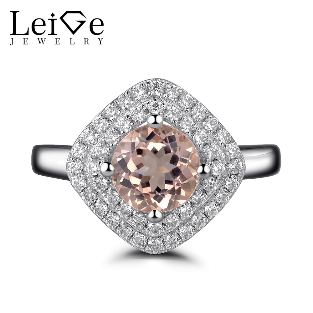 Leige Jewelry Double Halo Morganite Ring Pink Gemstone Engagement Rings for Women Round Cut Sterling Silver 925 Fine Jewelry