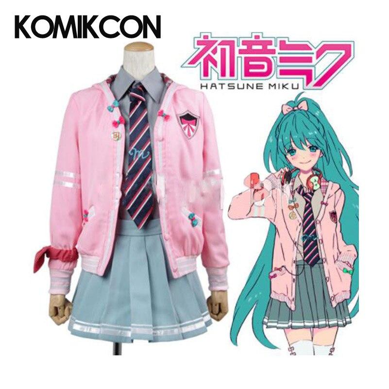 Vocaloid Miku Project diva-f Cosplay Costume filles uniforme scolaire femmes rose à capuche veste & chemise grise & bleu jupe & cravate ensemble complet