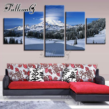 FULLCANG 5d diy full square/round drill diamond painting 5 panel snow mountain mazayka embroidery winter scenery art kit FC917