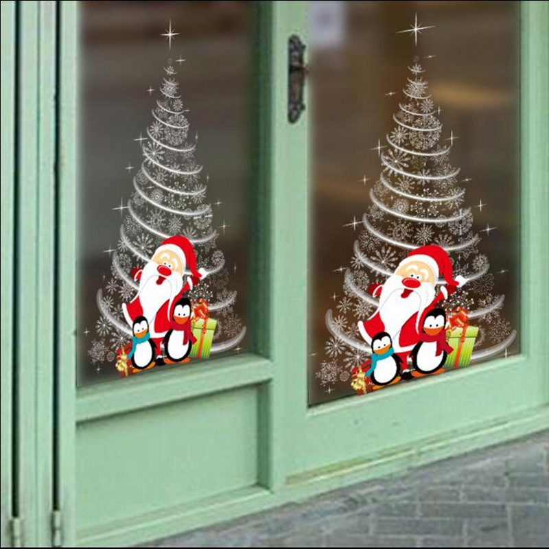 shopping mall glass door stickers christmas decorations school classroom layout white christmas tree wall stickers double sided in christmas from home