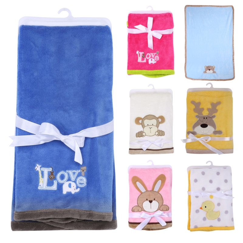 Cartoon Baby Blanket Coral Fleece Swaddle Stroller Wrap for Newborns Baby Bedding Blankets Towels Winter Warm купить недорого в Москве