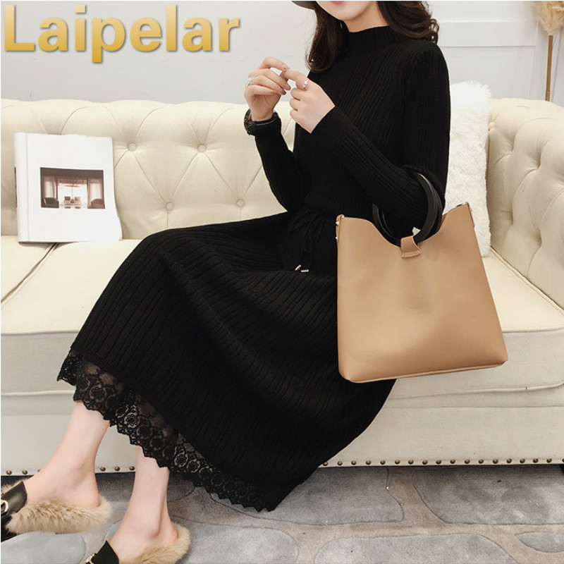 Women Elegant Autumn Winter Dress Turtleneck Long Sleeve Sweater Dress Loose Knitted Slim Warm Dress Basic Sweater Lace Dress in Dresses from Women 39 s Clothing