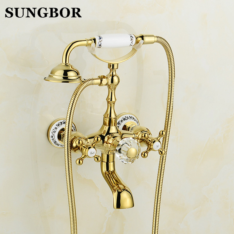 Golden Brass Bathroom Shower Bathtub Faucet Dual Handle Cold & Hot Water Mixer Tap with Wall Mounted Ceramic Hand Spray HS-8848K new chrome finish wall mounted bathroom shower faucet dual handle bathtub mixer tap with ceramic handheld shower head wtf931