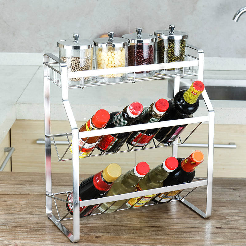 304 stainless steel kitchen seasoning bottle rack 3 daily necessaries storage rack seasoning box shelf LU41910