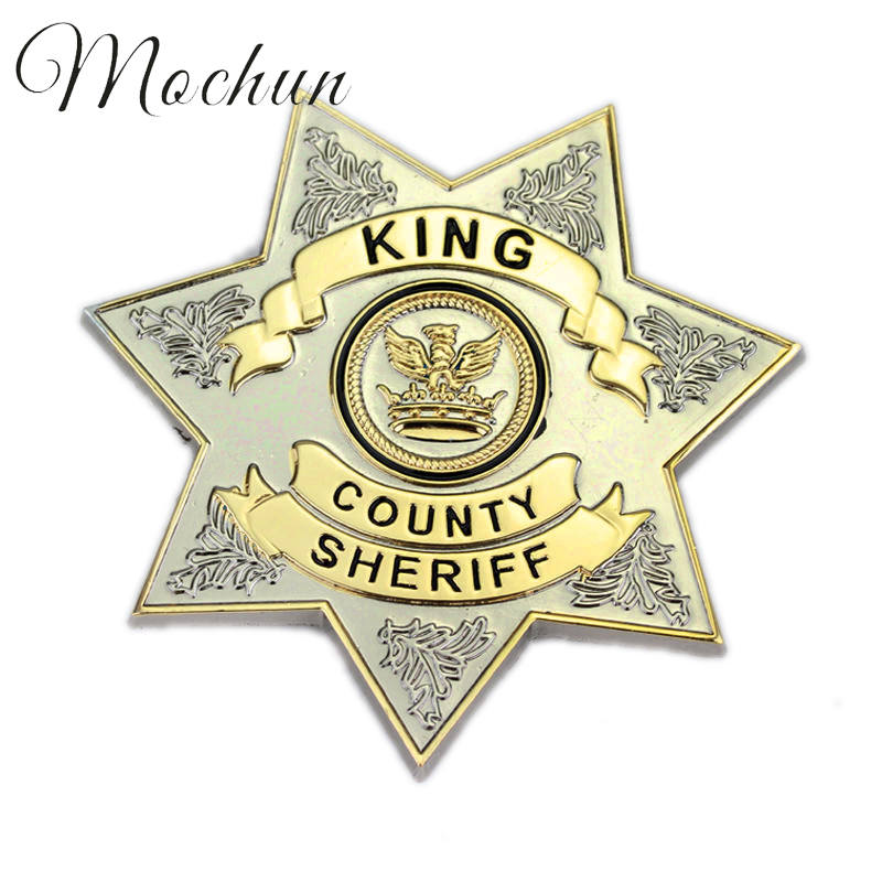 MQCHUN The Walking Dead Uniform Star King County Sheriff Badge Cosplay Pin Brosje Høykvalitets legering Filmsmykker for menn Kvinner