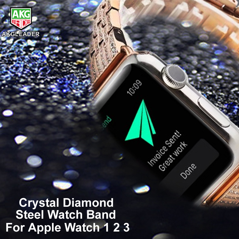 For Apple <font><b>Watch</b></font> Series 1 2 3 Crystal Rhinestone <font><b>Diamond</b></font> <font><b>Watch</b></font> Band Luxury Stainless Steel Bracelet Strap <font><b>Watch</b></font> Bands 38mm-42mm image