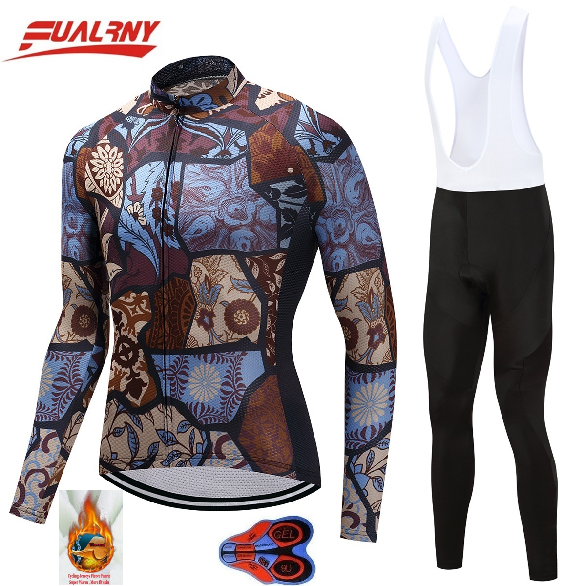 2018 NEW Team FUALRNY Long sleeve Ropa Ciclismo Cycling Jersey set 9D/winter Thermal Fleece/MTB Bike For Man Stitching pattern2018 NEW Team FUALRNY Long sleeve Ropa Ciclismo Cycling Jersey set 9D/winter Thermal Fleece/MTB Bike For Man Stitching pattern