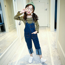Retail 2pcs Sets Brand 2017 New Kids Girls Long Sleeve Yellow Striped T-Shirt + Denim Bib Overalls Pants For Girls Sport Suits