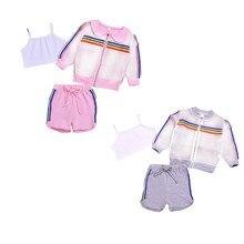1 комплект летней детской солнцезащитной одежды для маленьких девочек; повседневная детская верхняя одежда с длинными рукавами на молнии и принтом в полоску; топы+ шорты; костюмы; костюм